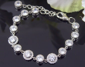 Bridal Bracelet Wedding Bracelet Cubic Zirconia Bracelet White Crystal Bracelet Bridal Cuff Bracelet Sterling Silver Rhodium Hypoallergenic