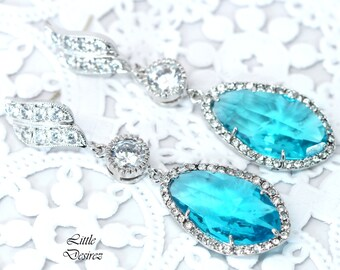 Blue Bridal Earrings Wedding Jewelry Statement Earrings Cubic Zirconia Jewelry Teal Blue Earrings Aqua Blue Jewelry Sterling Silver TB40PC