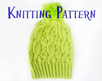 PDF Knitting Pattern - Neon Hat, Beanie Knitting Pattern, Knit Hat Instructions, Child, Adult, DIY Knit Toque,