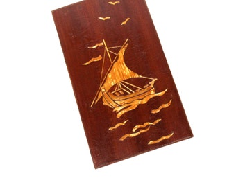 Sailboat Wall Hanging Soviet Vintage Ship Wall Picture Handmade Ussr 70s, Ship Wall Decor, Sailboat Wall Picture, Wood Sailboat Wall Decor