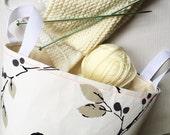 Bird print fabric storage basket in cream, beige and black | project bag | knitting bag | nursery storage bin