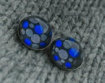 10mm polka dot stud earrings, blue grey studs, surgical steel stud earrings