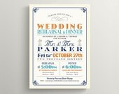 Rehearsal and Dinner Invitation \ Vintage Poster Design in Navy, Orange and Teal \ Printable Invite (RD06)