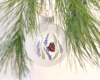 Handpainted ornament monarch butterfly ornament glass Christmas ornament nature lover gift under 25 cottage garden victorian Christmas tree