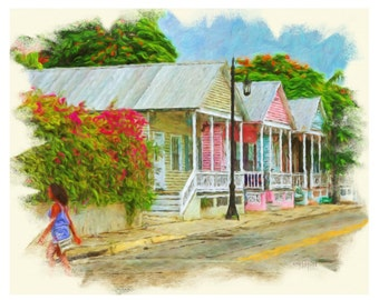 Colorful Tropical Caribbean Shotgun Houses Key West 8x10 16x20 Glicee Print - Key West Shotguns - Korpita