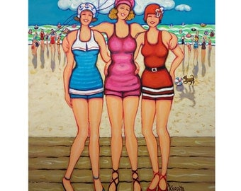 Colorful Beach Women in Vintage Bathing Suits - Original Painting 16x20 - Holiday at the Seashore - Korpita