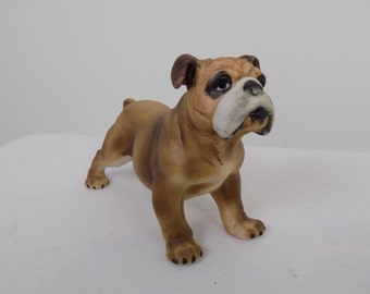 Adorable Bisque Porcelain Hand Painted English Bulldog Standing Figurine Statue - Vintage Antique Collectible Brown White Black Dog Handsome