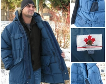"""SALE 1970s Authentic """"CANADA GOOSE"""" company,formerly named Metro Sportwear Toronto.Arctic Down Parka Men's Large, Dark Blue Leather Cuffs,"""