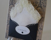 Vintage Appliqued Handkerchief Pale Yellow Paris Friend Birthday Gift Wedding Graduation Friendship Thinking Of You Hanky Keepsake Card