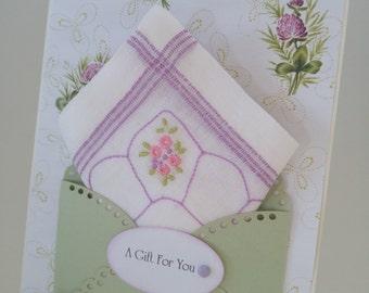 Lovely Lavender Vintage Embroidered Handkerchief Friend Birthday Wedding Graduation Friendship Thinking Of You Hanky Keepsake Card