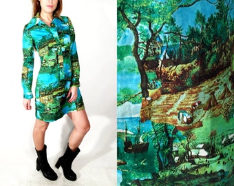 Vintage Farm Print Dress Size 38