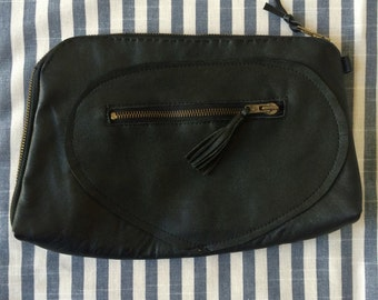 Pouch black leather with PomPoms / black leather clutch