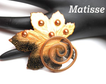 Matisse Renoir Brooch Jewelry Enamel and Copper Leaf with Swirl  Pin