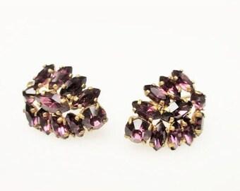 Czech Purple Rhinestone Earrings screw back gold plated mid century