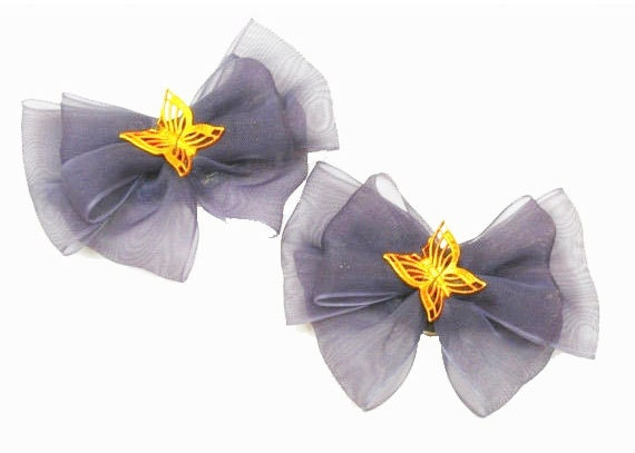 Vintage  Shoe Clips - Dark blue Bow - Gold Butterfly