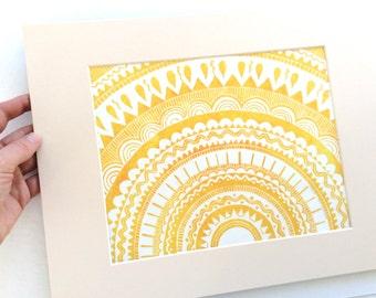 linocut - FIESTA, yellow - 11x14 / printmaking / block print / geometric art / mandala / sun, star art print