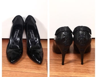 Size 9 Black Stuart Weitzman Heels Patent Leather Lace Back Bow Stiletto Heels Vintage Black Leather Stuart Weitzman High Heel Shoes