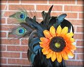 Sunflower Hair Clip, Peacock Hair Clip, Feather Hair Clip, Flower Hair Clip, Wedding Hair Piece, Festival, EDC, Burningman, Orange Sunflower