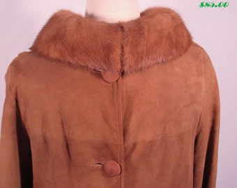 1940s Genuine Fur Collar Coat, Vintage Suede Coat with Real Mink Collar, Heavy Winter Coat, Fully Lined, Long, Size Medium