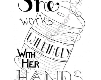Sewing Quote, Embroidery Pattern, PDF Embroidery Pattern, Bible Verse Embroidery, Embroidery PDF, Embroidery Pattern, Proverbs 31 Art