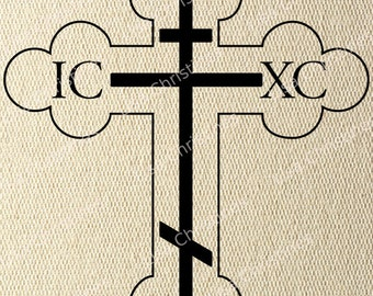 Cross, Easter Illustration, Instant Download, Clipart, Digital Transfer Image for Papercrafts, Pillows, Fabric, Iron on Transfer 227