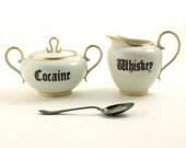 Cocaine Whiskey Redesigned Sugar Pot Creamer Porcelain Alcohol Drug Vintage Sugar White Brown Fun Funny