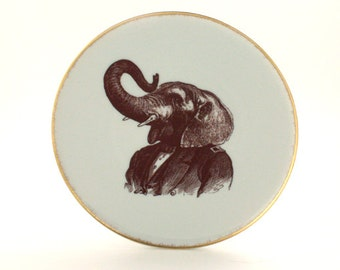 Mister Elephant Altered Plate Porcelain Suit  Human Clothes Anthropomorphic Animal Jungle Gold Rim Sugar White Vintage Geekery Whimsical