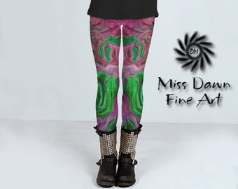 Art Leggings, Green Pink Art Print Leggings, Unique Legging, Women's Leggings, Artsy Yoga Pant, Creative Activewear For Women, Fashion