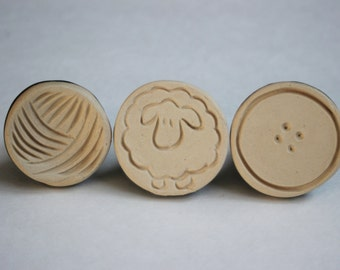 Set of three cookie stamps - Fiber Friends - sheep, button, yarn