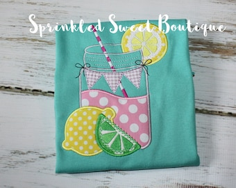 Custom Lemonade Applique on Girls Ruffle Shirt Can Add Name Monogram Cute Lemonade Stand Birthday Party Gift