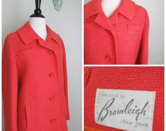 1960's Blood Orange Wool Coat// Bromleigh// Winter