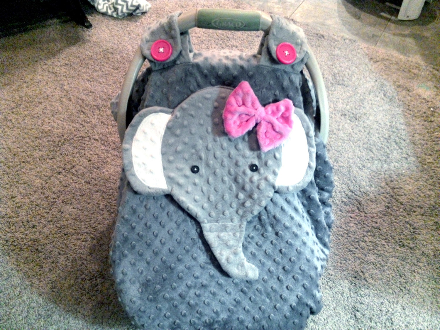 made to order gray fitted fleece elephant car seat canopy. Black Bedroom Furniture Sets. Home Design Ideas