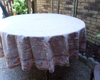 "Vintage Cocoa Brown with Blue Butterflies/Butterfly-65"" Round-Tablecloth"