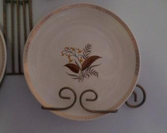 4-Vintage Cunningham Pickett Alliance Ohio Creamer/Sugar-Oakdale-Gold Greek Key Trim-Leaf/Fern Design-X4 Dinner Plates