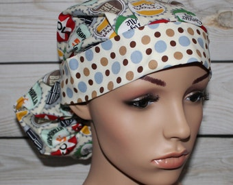 Bottle Caps,Surgical Scrub Hat,Scrub Cap,Women's Surgical Scrub Hat, Front Fold Ponytail