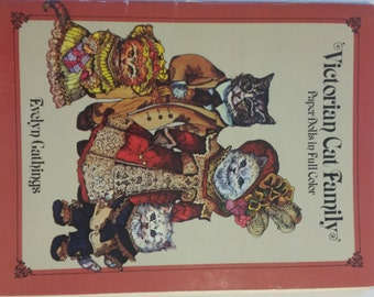 Vintage Victorian Cat Family Paper-doll Book 1984