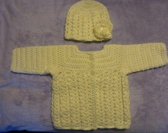 0-3 Months Sweater Set With 6 Removable Flowers