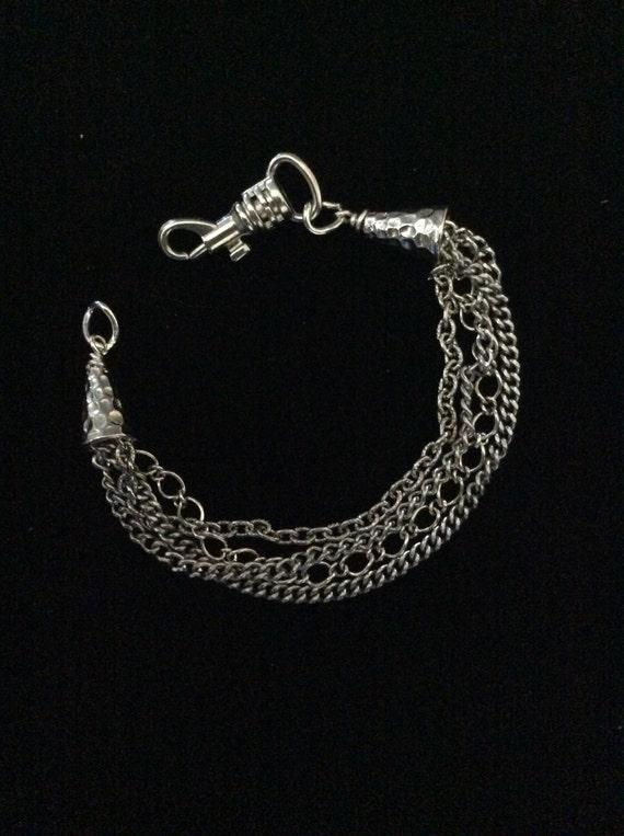 Chain Bracelet, Antique silver bracelet, muti chain bracelet,