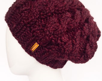 Cable Knit Tam, Cable Knit Beret, Slouchy Knit Hat, Knit Hat, Winter Hat, Women's Hat, Burgundy, Claret, Christmas Gifts, Gifts under 30