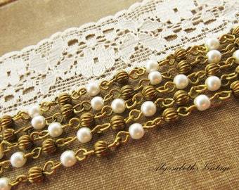 Vintage Pearl & Brass Beaded Rosary Chain 4mm Pearls Fluted Brass Beads - 1 ft.