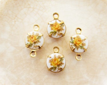 Vintage 8mm Yellow Rose Limoge Cameo Set Stones Brass or Silver Ox Settings - 4