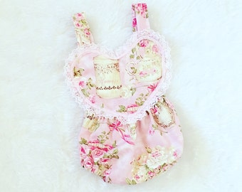 Tea party, rose,bubble romper, Romper, Sun suit, polka dots,  nb, size 3, 6, 9, 12, 24 months, 2T, 3T, 4T