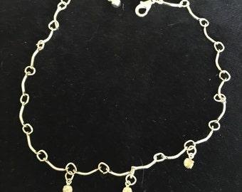 Silvery Bracelet with 3 Rhinestones