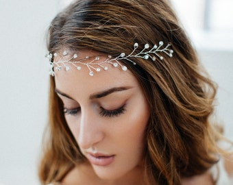 Bridal Hair Vine, Wedding Headband, Boho Headpiece, Crystal Hair Vine, Pearl and Crystal Headpiece, Crystal Bridal Crown, Wedding Headpiece