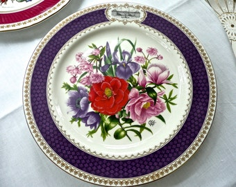 Aynsley Porcelain - Botanical Wall Plate - Flower Pattern Plate - Commemorative - Flower Show Plate - Chelsea - Cabinet Plate - England