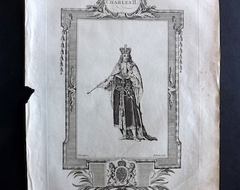 Russell 1779 Antique Portrait Print. Charles II