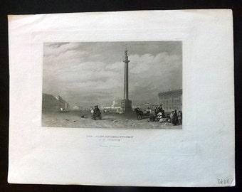 Meyer C1850 Antique Print. The Alexander Column in St. Petersburg. Russia