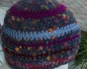 Textured Crochet Beanie Hat in multi shades with blue contrast