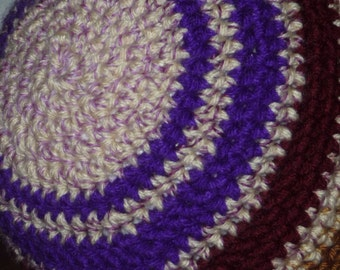 Simple Bold stripes Crochet Beanie hat Soft Purple Green Brown