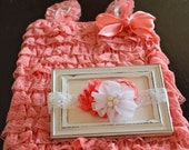 Coral Romper, Lace Romper, Cake Smash Outfit Girl, Baby Girl 1st Birthday Outfit, Girls Headband, Baby Headband, Baby Romper, Newborn Romper